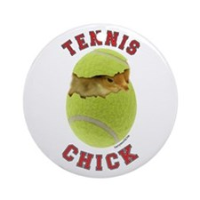Tennis Chick 2 Ornament (Round)