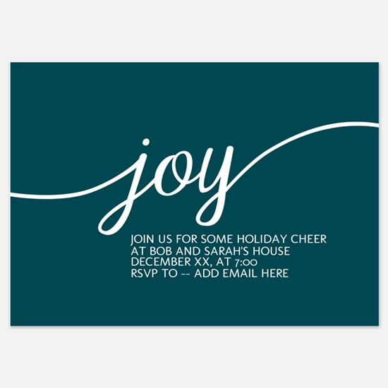 Joy Holiday Blue Invitations