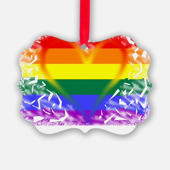 2-gay-pride heart Ornament