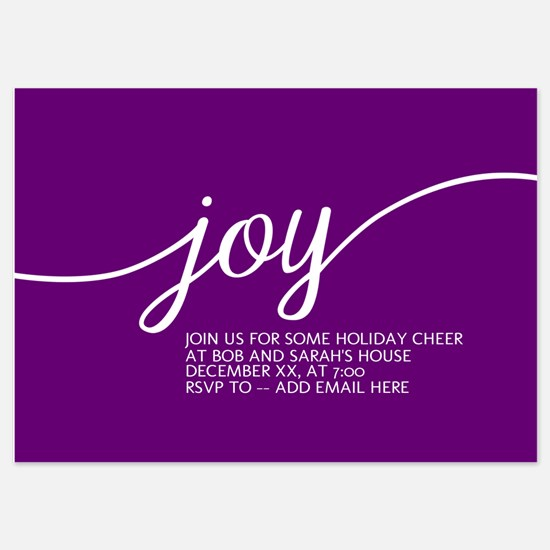 Joy Holiday Purple Invitations