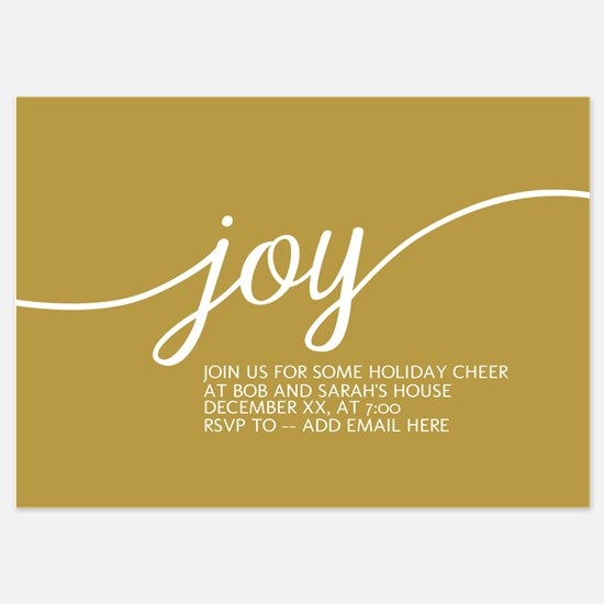 Joy Holiday Gold Invitations