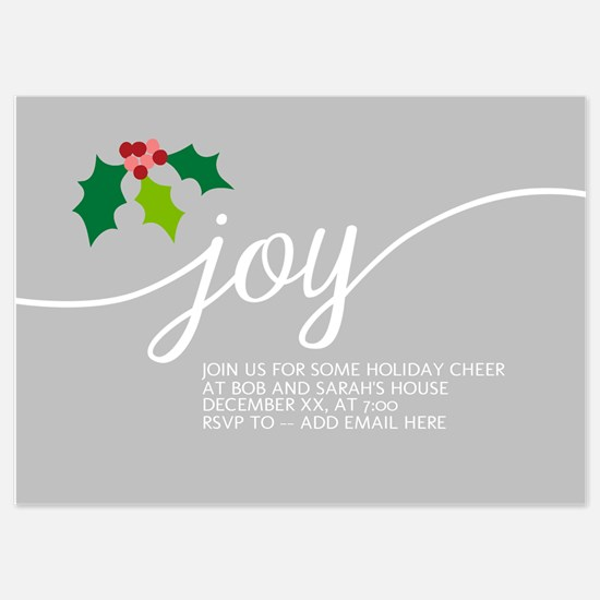 Joy Holly Gray Invitations