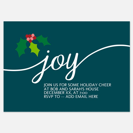 Joy Holly Blue Invitations
