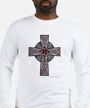 Traditional Celtic Cross Red Long Sleeve T-Shirt