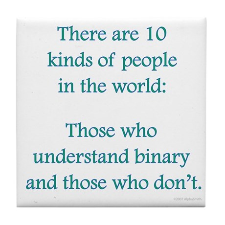 10 Binary People Tile Coaster