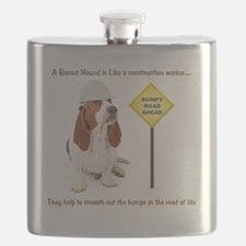 Basset Hound Construction Worker Flask