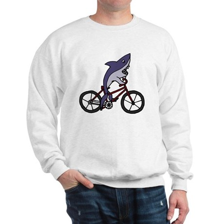 Funny Shark Riding Bicycle Sweatshirt