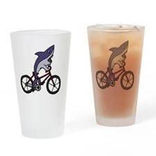 Funny Shark Riding Bicycle  Drinking Glass