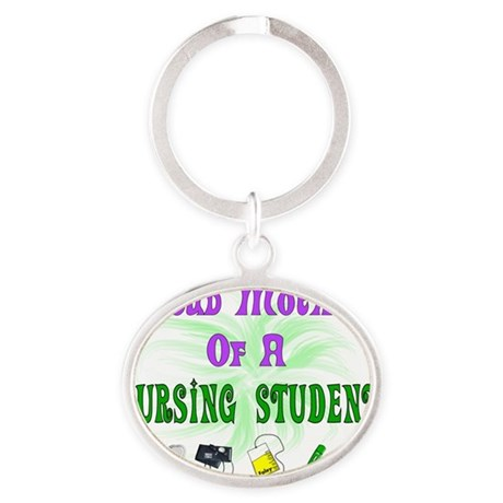 Proud Mother Nursing Student Equip Oval Keychain
