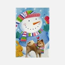 finnish spitz greeting card xmas Rectangle Magnet