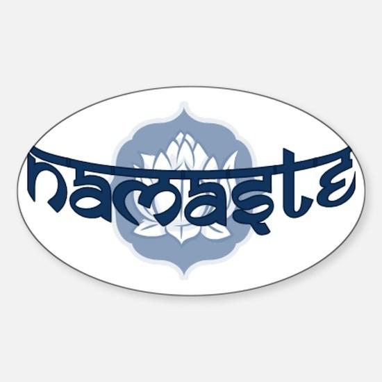 Namaste Lotus - Blue Sticker (Oval)
