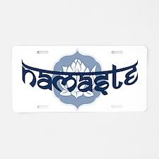 Namaste Lotus - Blue Aluminum License Plate