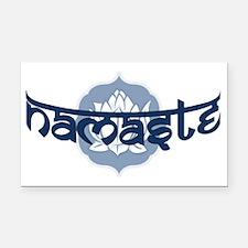 Namaste Lotus - Blue Rectangle Car Magnet