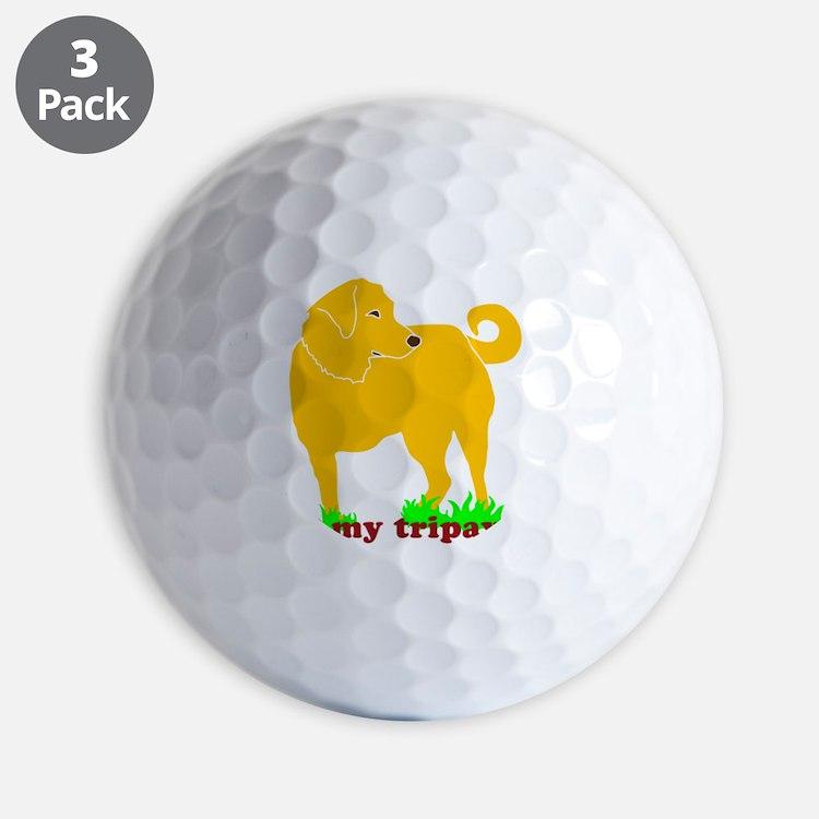 I Love My Tripawd Golden - Front Leg Golf Ball