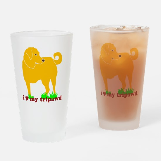 I Love My Tripawd Golden - Front Le Drinking Glass