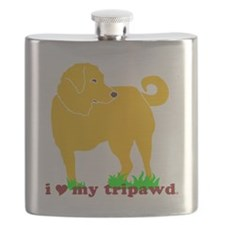 I Love My Tripawd Golden - Front Leg Flask