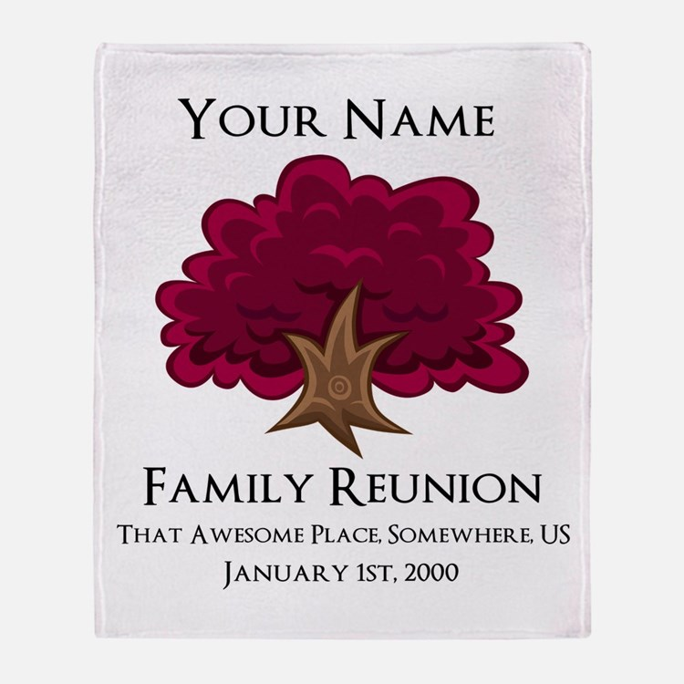 Purple Tree Family Reunion Throw Blanket