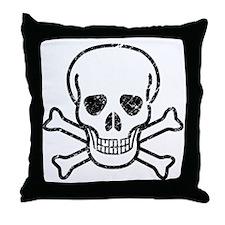 Skull  CrossBones, Vintage Throw Pillow