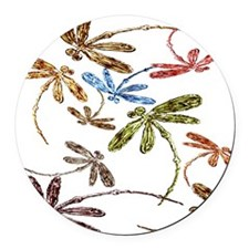 Dragonfly Pop Round Car Magnet