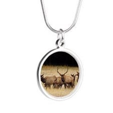 Elk 9x12 Silver Round Necklace