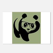 Hipster Panda Wearing Trendy Eyeglasses Postcards