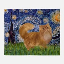 Starry Night - Red Persian cat Throw Blanket