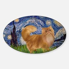 Starry Night - Red Persian cat Sticker (Oval)