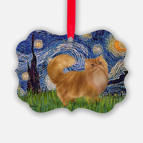 Starry Night - Red Persian cat Ornament