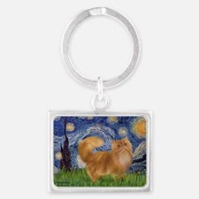 Starry Night - Red Persian cat Landscape Keychain