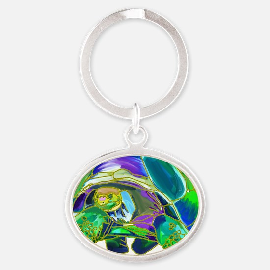 Tortoise1 Oval Keychain