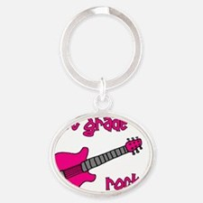 1stgraderocks_pink Oval Keychain