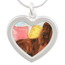 Irish Setter Dog Silver Heart Necklace
