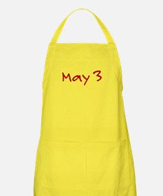 """May 3"" printed on a Apron"
