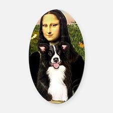MP-Mona Lisa - Border C - redone Oval Car Magnet
