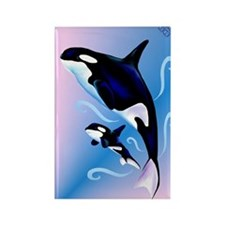 Orca Mom and Baby_journal Rectangle Magnet
