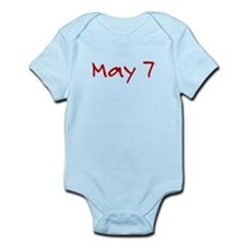 """May 7"" printed on a Infant Bodysuit"