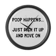 Poop Happens Large Wall Clock