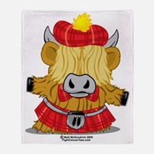 Highland-Cow-Red-Kilt-2009 Throw Blanket