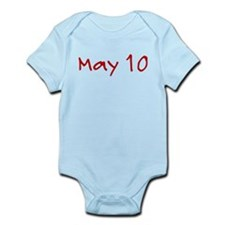 """May 10"" printed on a Infant Bodysuit"