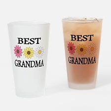 BEST GRANDMA WITH FLOWERS Drinking Glass
