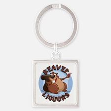 Beaver-Liqours Square Keychain