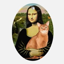 Mona Lisa - Abyssinian (red) Oval Ornament