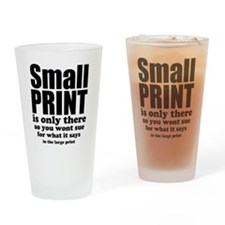 Small print is only there... Drinking Glass