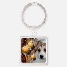 Holiday Sable Corgi Keychains