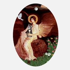 Seated Angel - Grey Tabby 31 Oval Ornament