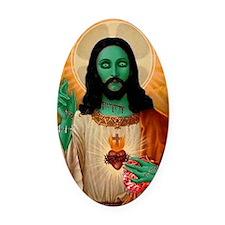 Zombie Jesus Loves Brains Oval Car Magnet