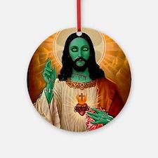 Zombie Jesus Loves Brains Round Ornament