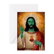 Zombie Jesus Loves Brains Greeting Card