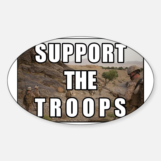 Support the Troops Sticker (Oval)