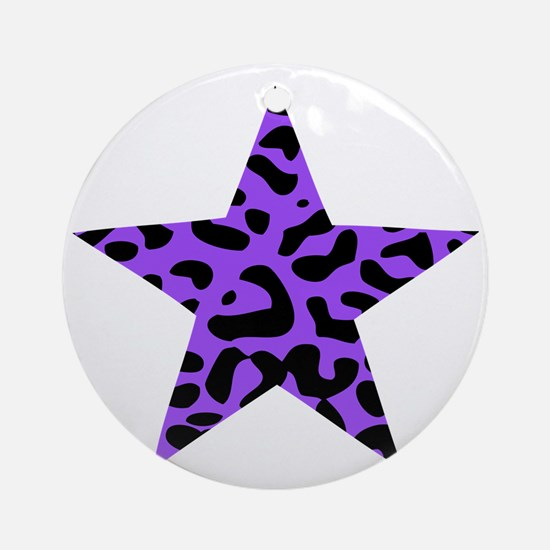 Leopard Star Purple Round Ornament